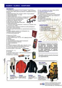 Ekwipunek Kazbek Elbrus
